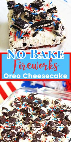 No Bake Fireworks Oreo Cheesecake Bars add a little spark to lusciously creamy O., Desserts, No Bake Fireworks Oreo Cheesecake Bars add a little spark to lusciously creamy Oreo Cheesecake Bars. Made with Fireworks Oreos that include a surprise. 4th Of July Desserts, Fourth Of July Food, Köstliche Desserts, Holiday Desserts, Holiday Recipes, Patriotic Desserts, Patriotic Party, 4th Of July Party, Fourth Of July Recipes
