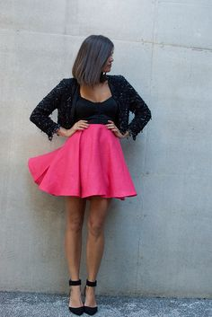 Skate Skirt, Zara Heels, Vintage beaded jacket