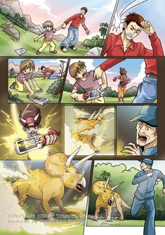 Dinosaur King manga page by oOMellyChanOo Jurassic World, Jurassic Park, Walking With Dinosaurs, Heroes Book, Fairy Tail Gray, Lion King 2, Dinosaur Cards, Dinosaur Pictures, World Of Gumball