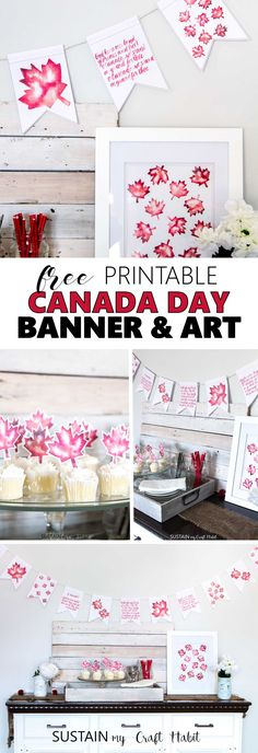 Free printable Canada Day art including watercolour maple leaves and handlettered banner. Free Printable Banner, Free Printables, Canada Day Crafts, Diy Canada Day Decor, Canada Birthday, Canada Day Party, Happy Canada Day, Canada 150, Thinking Day