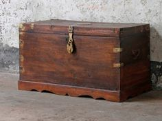 A stunning large-sized traditional and totally original teak storage chest. This original chest would make a great feature in a living room, bedroom or a study. Salvaged Doors, Vintage Windows, Architectural Salvage, Hope Chest, Storage Solutions, Vintage Furniture, Teak, Storage Chest, Restoration