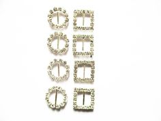 Small Buckles - Silver Rhinestone Buckles suit 10mm straps, shoes or belts #JaszitupleatheraccentsJiula