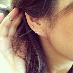 Hirotaka Gossamer Diamond Short Bar Earring gAnsBHxnwD