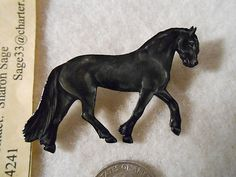 Friesian Horse PIN Brooch Handpainted Dressage Saddle Bridle Halter Jewelry Gift