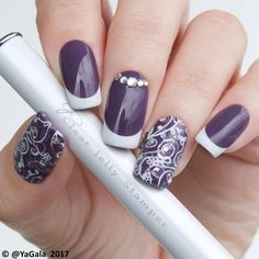 Classy Purple Nails With White Tips And Silver Beads #Frenchmanicure