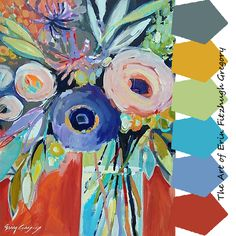 The dynamic and color artwork of Erin Fitzhugh Gregory captivates me with the brilliant colors! Erin Gregory, Fruit Art, Arte Floral, Abstract Flowers, Flower Art, Watercolor Paintings, Art Projects, Canvas Art, Pastel
