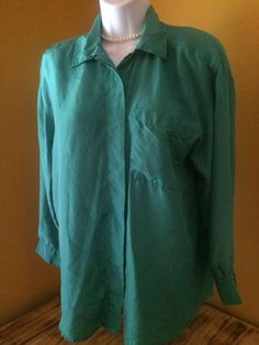 Womens Blouse 100% Silk Long Sleeve Green by Silk Degrees Size P #SilkDegrees #Blouse