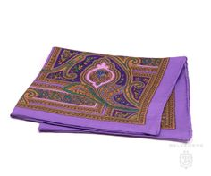 933934df0b8aa Silk Pocket Square violet purple paisely with yellow and green - Handrolled  by Fort Belvedere