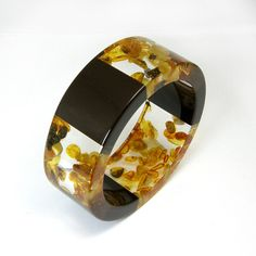 Amber Bracelet, Clear and Chocolate Brown Resin Bangle with Amber, Original Baltic Amber Jewelry
