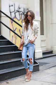 Casual cool in ripped jeans, off white blazer & nude pumps #StreetStyle