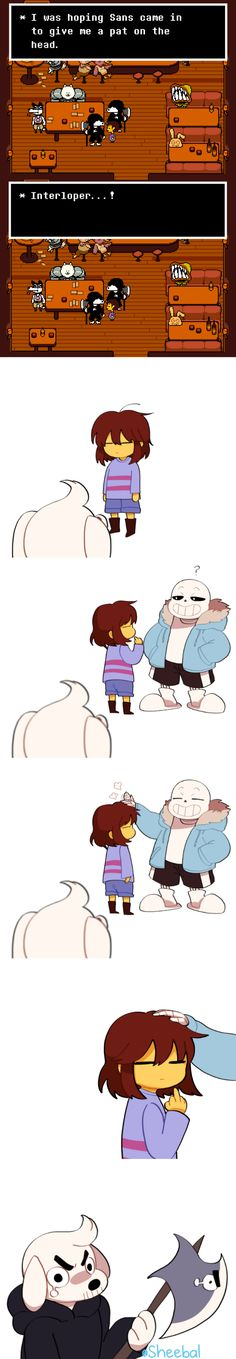 Frisk, Dogamy, and Sans - comic