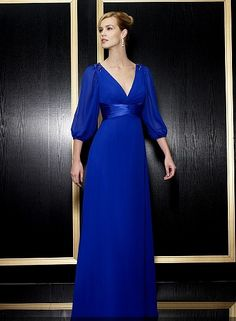 Royal Blue And Purple mother of the bride dresses | Sassy Blue V-neck 3/4 Sleeves Chiffon Long Mother of the Bride/Groom ...