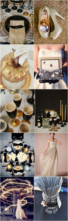 Black & Gold Halloween Wedding Moodboard | weddingsonline
