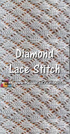 Meladoras Creations – Diamond Lace Crochet Stitch – Crochet Tutorials and Chart Crochet Stitches Free, Stitch Crochet, Tunisian Crochet, Crochet Geek, Crochet Blanket Patterns, Learn To Crochet, Diy Crochet, Stitch Patterns, Shape Patterns