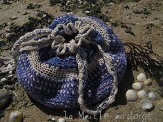 """""""En mer indienne"""", Sac au point Lirette - Création au crochet en ruban de jupe indienne  au point lirette  Vers Cythère! pour la Maille au doigt"""