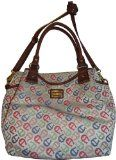 Women's Etienne Aigner Purse Handbag Maxine n/s Tote Collection Bright Multi w/ Saddle