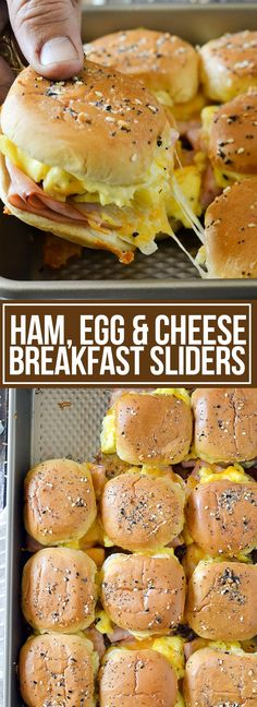These Ham, Egg and Cheese Breakfast Sliders are the ultimate sliders loaded with slices of ham and topped with scrambled eggs, shredded cheese and a creamy dijon spread. Breakfast Party, Breakfast Slider, Breakfast Dishes, Breakfast Recipes, Breakfast Casserole, Breakfast Ham, Breakfast Ideas, Breakfast Tailgate Food, Group Breakfast