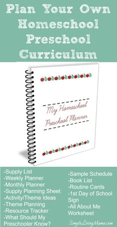 """Do you want to homeschool your preschooler, but don't know where to start? You can plan your own homeschool preschool curriculum. No need to buy an expensive boxed set. Use """"My Homeschool Preschool Planner"""" to put together all of your own ideas and resources. This planner will help you get your own curriculum organized!"""
