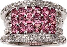 Pink Sapphire, Diamond, White Gold Ring