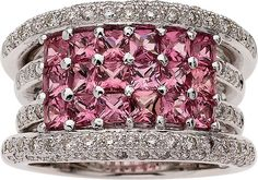 Pink Sapphire, Diamond, White Gold Ring