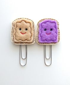 Set of TWO Peanut Butter and Jelly Felt Paperclips | Bookmark | Paper Clip | Felt PB&J | Feltie | Planner Clip | Kawaii | Kawaii Paperclip