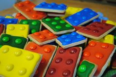 Adorable Lego cookies made with M & Ms  -- inspiration only; a few relevant comments at the click-through will help