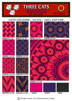Cats_Colours_cws_32_34_2012 African Textiles, African Fabric, African Party Theme, Cat Colors, Colours, Best Wordpress Themes, Design Your Own, Textile Art, African Fashion