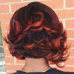 35 Short Weave Hairstyles You Can Easily Copy - Black Bob With Red Balayage Highlights - Black Hairstyles With Weave, Curly Weave Hairstyles, Pretty Hairstyles, Curly Hair Styles, Natural Hair Styles, Hairstyle Men, Funky Hairstyles, Formal Hairstyles, Short Haircuts