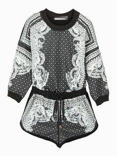 Retro Patterned Top And Shorts In Black - Choies.com