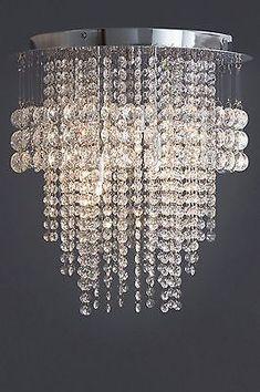 NEXT Illusion 3 Light Clear Glass Flush Ceiling Lighting & Chandelier NEW
