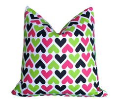 Pink Hearts Pillow, Cute Throw Pillows, Girls Bedroom Cushion Covers, Pink  Green, Black White, Couch Accent 18x18