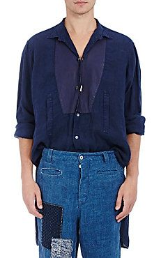Twisted-Placket Linen Tunic Shirt