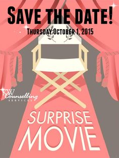 Our fourth annual Surprise Movie Night will take place on Thursday October 1, 2015.  The proceeds from this event support our work with children and families who have experienced trauma and abuse.