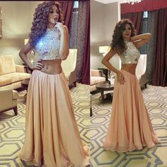 Myriam Fares Two Pieces Prom Dresses 2016 Champagne Rhinestone Crystal Keyhole Chiffon A Line Pageant Evening Dress Online with $186.29/Piece on Angelia0223's Store | DHgate.com