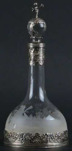 19th Century Dutch Sterling Silver Mounted Etched Crystal Decanter with Silver Top Stopper. : Lot 139