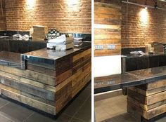 counters covered with pallet wood. concrete counter tops maybe?