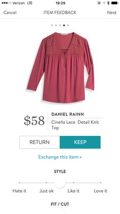 Looks WAY better on than I thought it would. Love the color. Daniel Rainn Cinella Lace Detail Knit Top by Stitch Fix stitchfix.com/referral/7393950