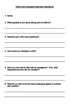 Child Care Assistant Interview Questions Printable