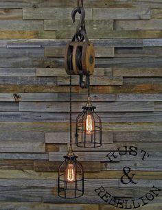 The Wood Wheel Pulley Pendant Light - Rustic Industrial Cage Lighting - Manila Rope swag Ceiling lamp - Edison bulb hanging chandelier Pulley Pendant Light, Rustic Pendant Lighting, Rustic Light Fixtures, Rustic Lamps, Rustic Decor, Farmhouse Decor, Rustic Barn, Nautical Lighting, Antique Lighting