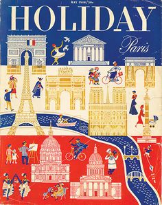 1948 Holiday Magazine Cover Paris by creaaativity on Etsy Illustrations Vintage, Illustrations And Posters, Travel Illustration, Graphic Illustration, Oui Oui, Vintage Magazines, Modern Graphic Design, Graphic Art, Vintage Travel Posters