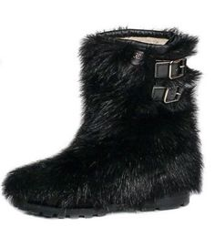 e8b5bbc4d Chanel Black Leather Fantasy Fur Shearling Boots Size 38 100% Authentic - Fantasy  Boots -