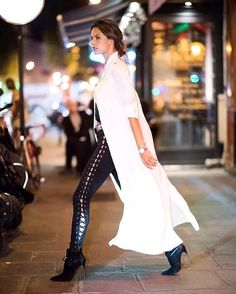 Weekend night street style, vegan leather diagonal lace-up leggings, a white trench, block heel ankle boots   Tumblr/ THE TRENDY TALE — MORE FASHION AND STREET STYLE