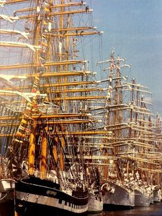 """rickinmar: """"Boston over the years has had many Tall Ships events ,starting in the This late photo is by Ulrike Welsch and shows Black Falcon Pier, with the Russian barque Kruzenshtern. Old Sailing Ships, Ship Of The Line, Wooden Ship, Sail Away, Wooden Boats, Tall Ships, Model Ships, Water Crafts, Photos"""