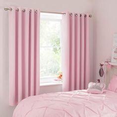 Dunelm Pink Mia Blackout Eyelet Curtains
