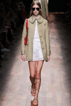 Date-night outfit idea: A minidress, coat, and gladiator sandals, inspired by Valentino spring  2015