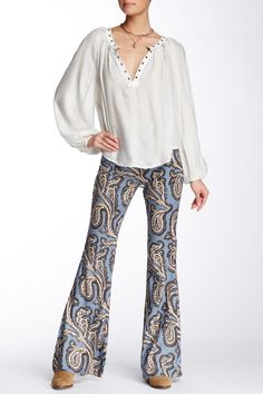 Paradise Printed Flared Linen Blend Pant