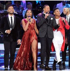 Terrence Howard and Taraji P Henson host star-studded Christmas show Empire Tv Show Cast, Most Popular Tv Shows, Empire Season, Taraji P Henson, Jussie Smollett, Star Clothing, Black Couples Goals, Celebrity Look, Gowns