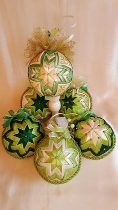 Vintage Christmas Quilted Ornament/Victorian ornament/ Green and gold Christmas decoration by AngelsHandmadeCrafts on Etsy