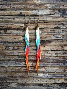 Long Beaded Earrings,  Long Fringe Earrings, Seed Bead Earrings, Bohemian Earrings, Fire Earrings by WildHoneyPieDesign on Etsy https://www.etsy.com/listing/218874768/long-beaded-earrings-long-fringe