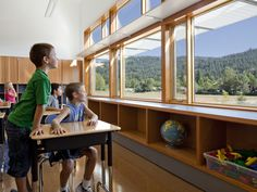 The 8 Things Domestic Violence Shelters Can Teach Us About Secure School Design,Abundant daylight and views to the outdoors promote wellness. Project Name: Thurston Elementary School in the Springfield School District. Photo by Lincoln Barbour. School Architecture, Interior Architecture, Interior Design, Classic Architecture, Springfield School, Springfield Oregon, 21st Century Learning, Classroom Design, Learning Spaces